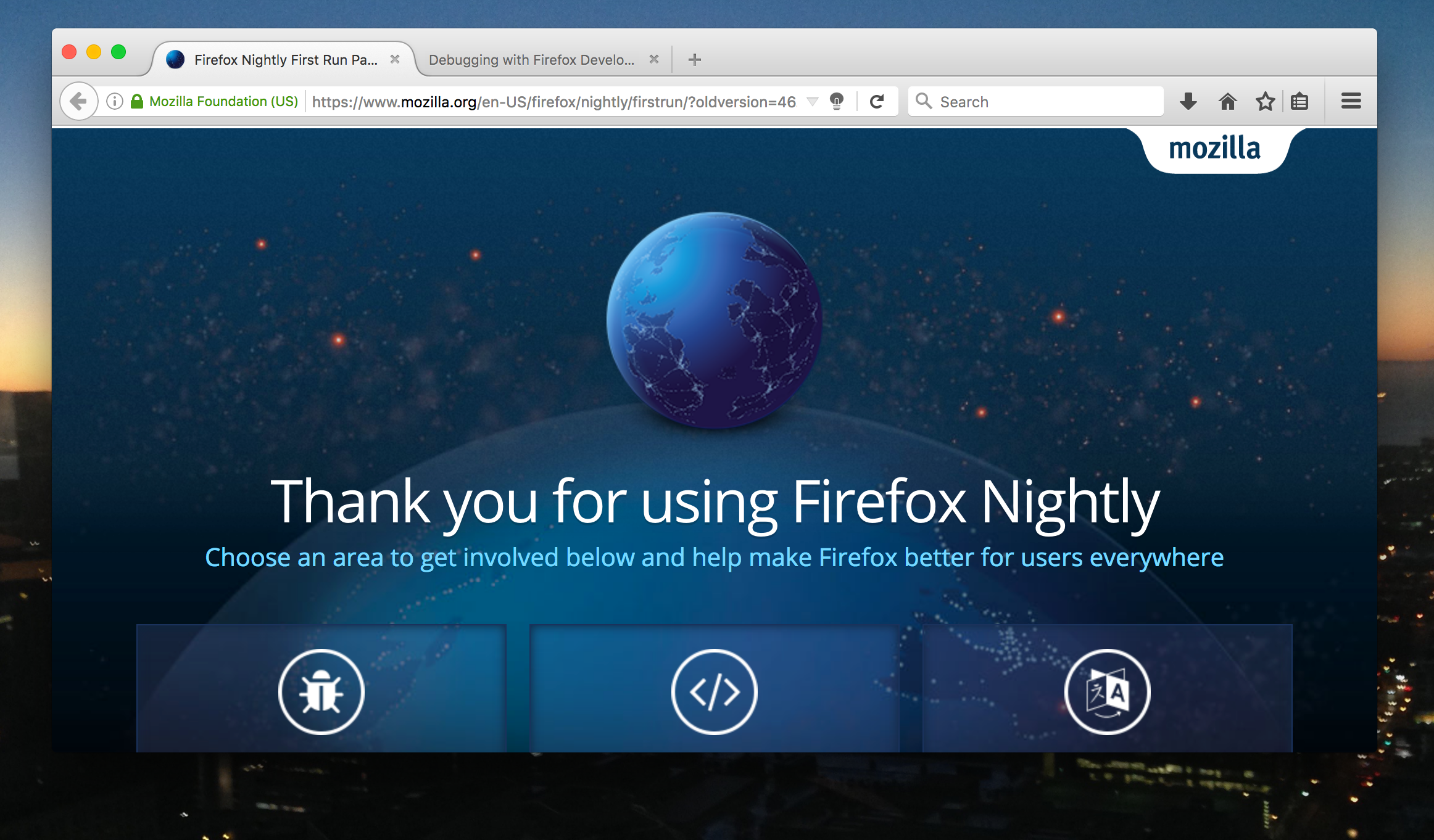 Firefox Nightly with the gray lamp button