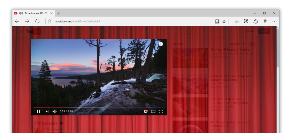 Turn Off the Lights for Microsoft Edge Cinema Background on YouTube