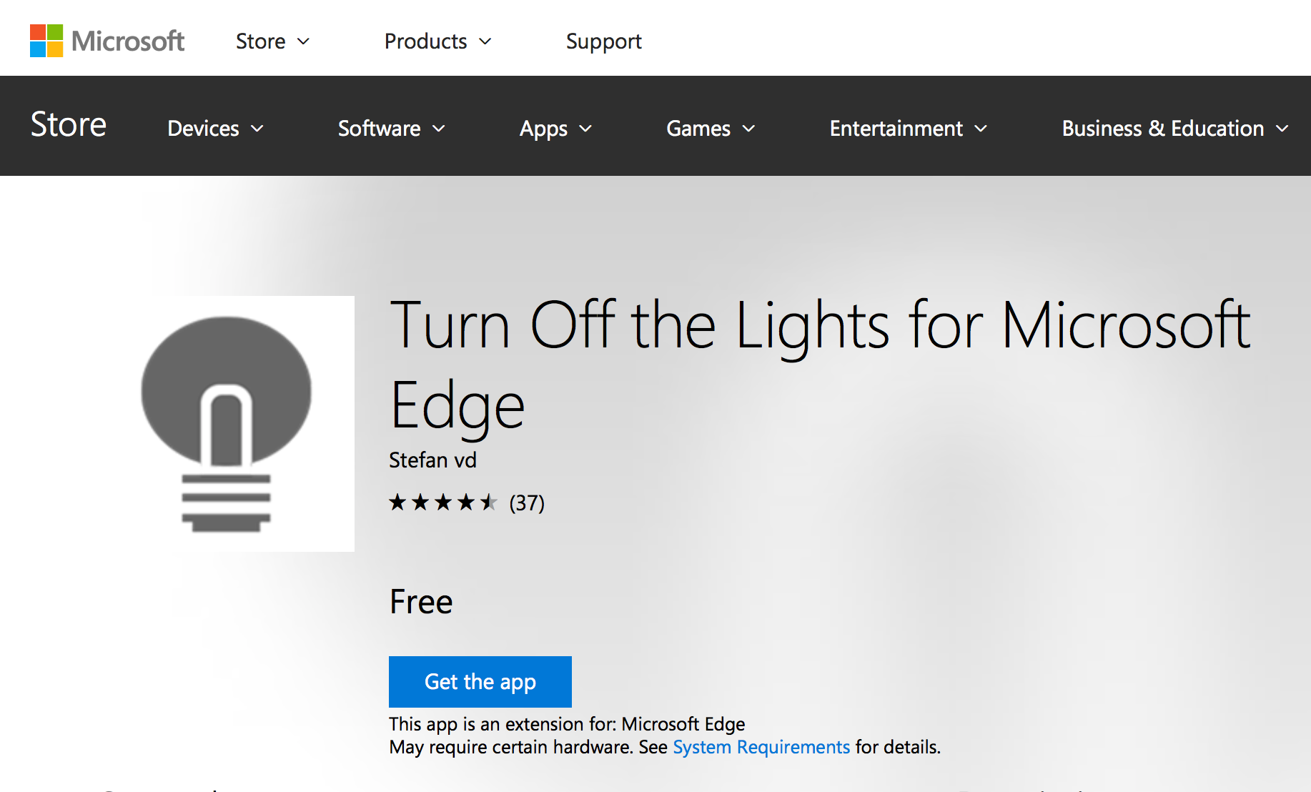 Turn Off the Lights for Microsoft Edge on the Microsoft Store