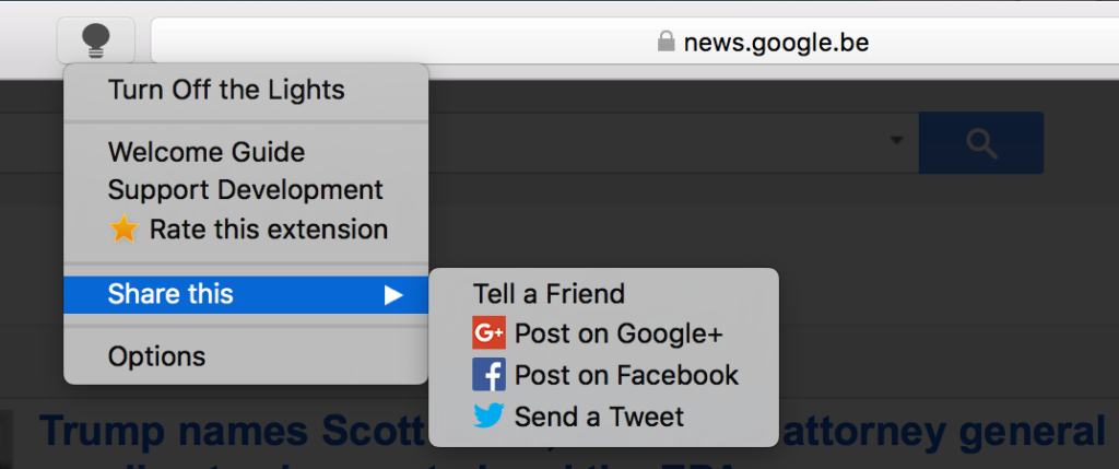 Turn Off the Lights Safari extension right click menu