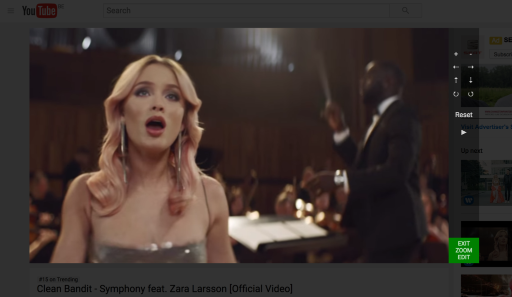 zoom on video player YouTube