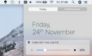 Brightness control from the macos notification sidebar