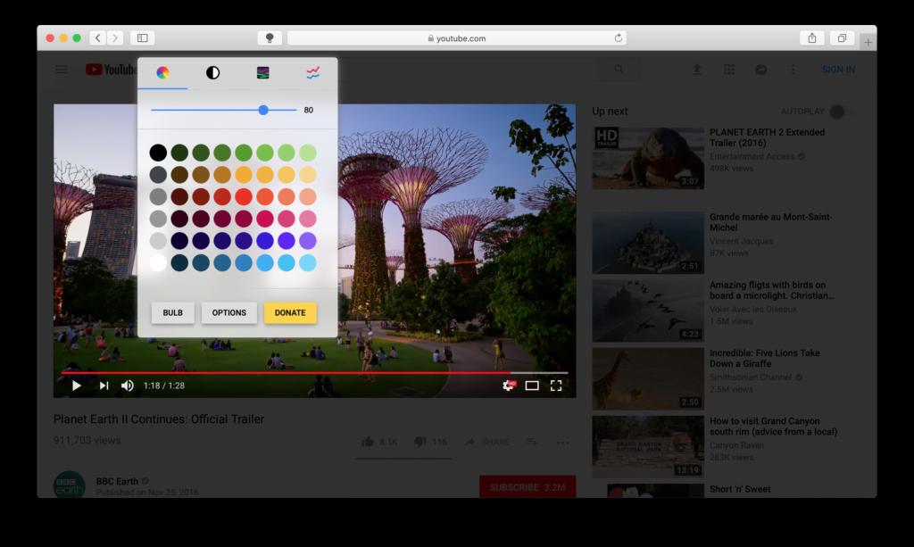 Turn Off the Lights for Safari Double Click menu