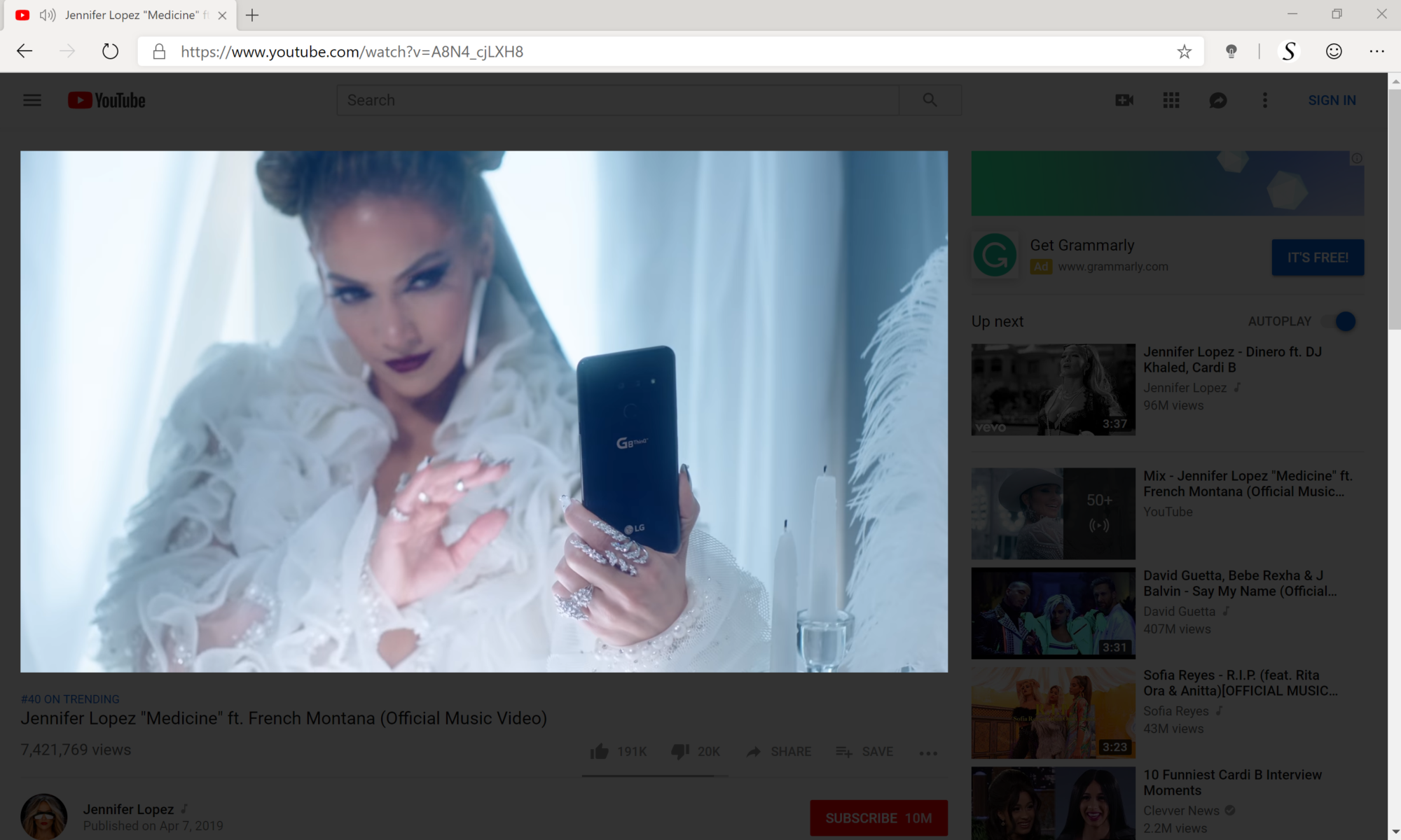 Turn Off the Lights Microsoft Edge extension Jennifer Lopez YouTube video