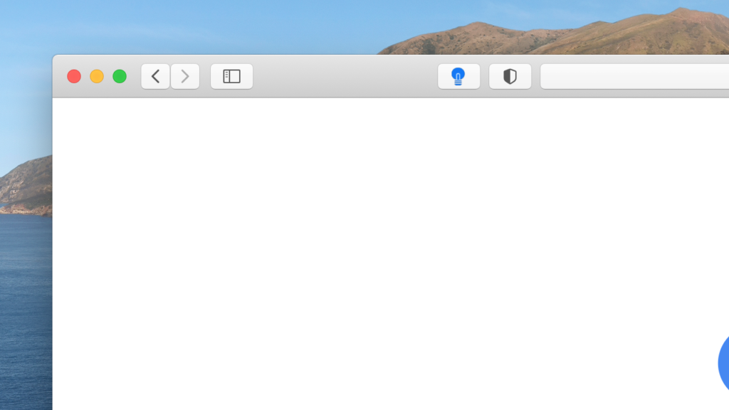 In Apple Safari web browser you will see the gray lamp button on your left side of the address bar