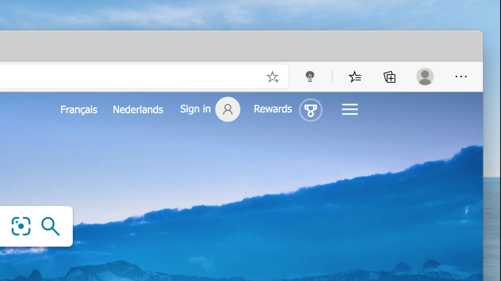 In Microsoft Edge you see the gray lamp button on the right of the address bar