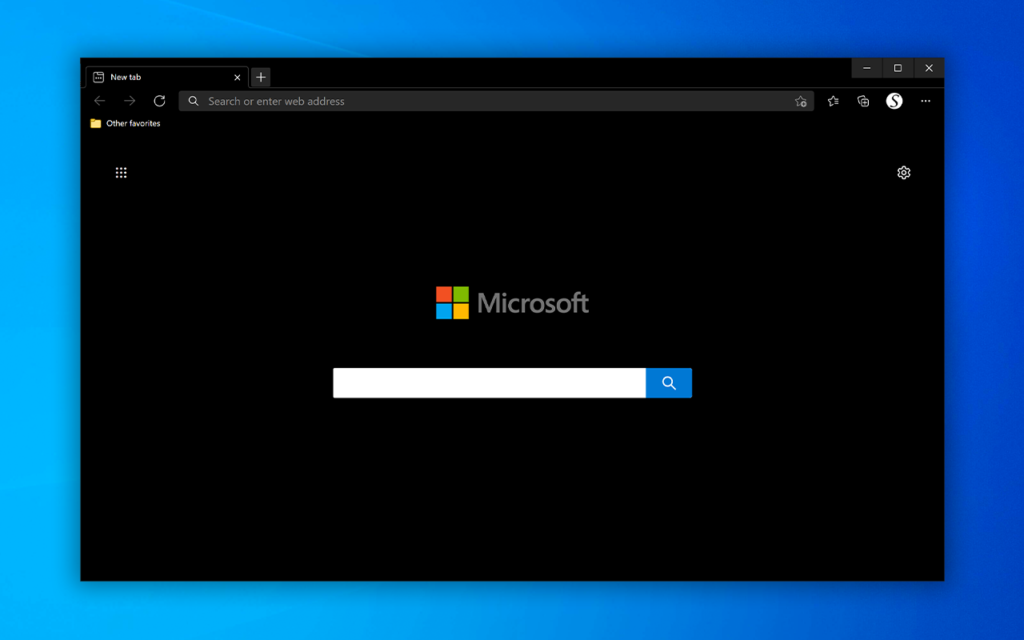 Complete Black Theme for Microsoft Edge web browser