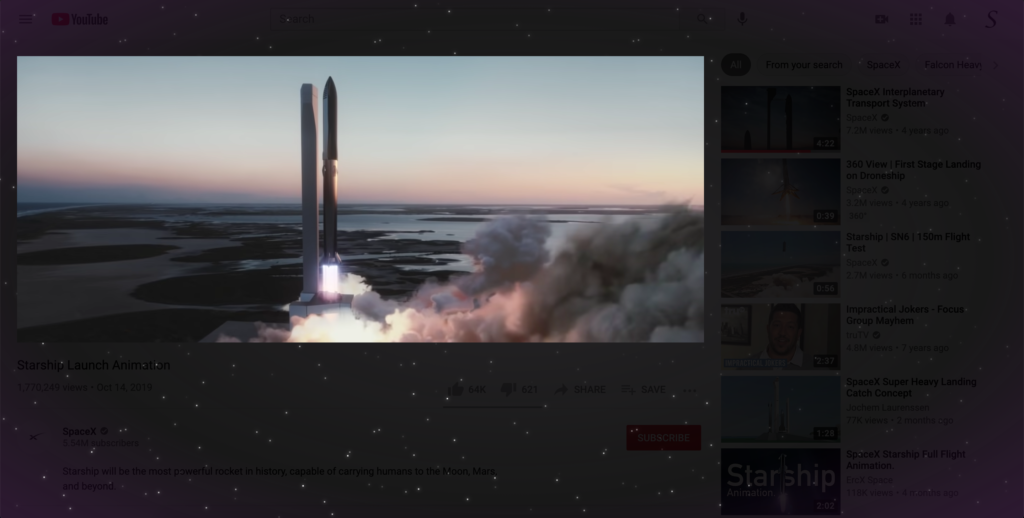 SpaceX live video with the Turn Off the Lights browser extension Dynamic Background feature enabled