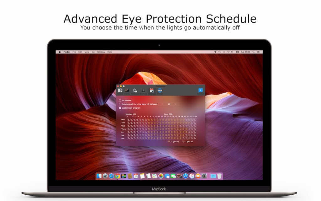 Advanced Eye Protection Schedule in the Turn Off the Lights for Desktop app