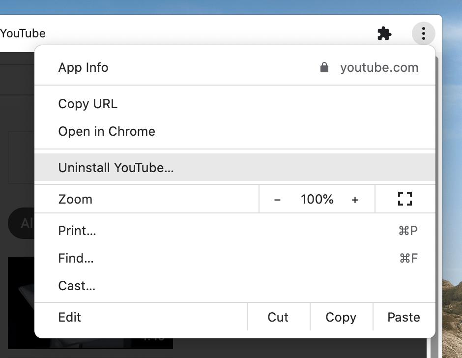Uninstall YouTube app