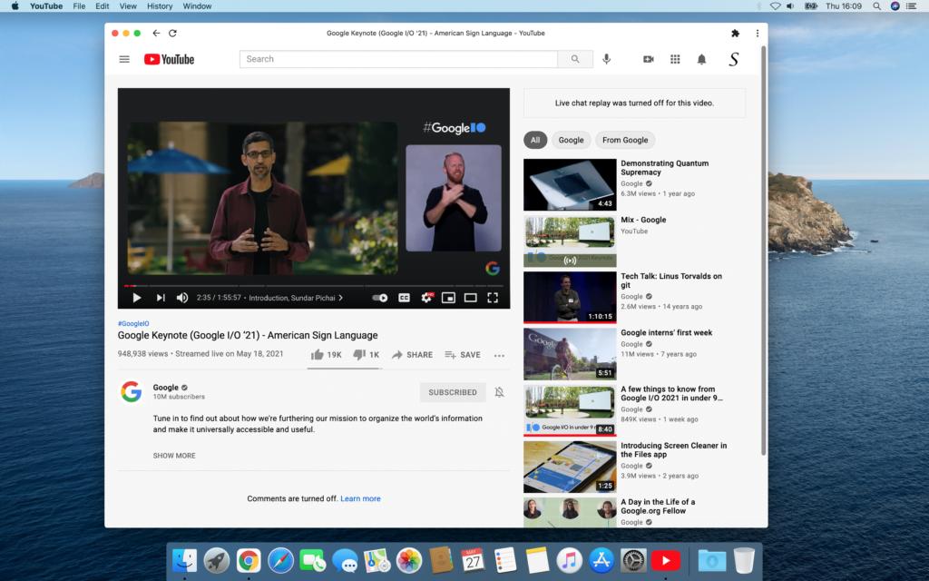 YouTube Progressive Web Applications window