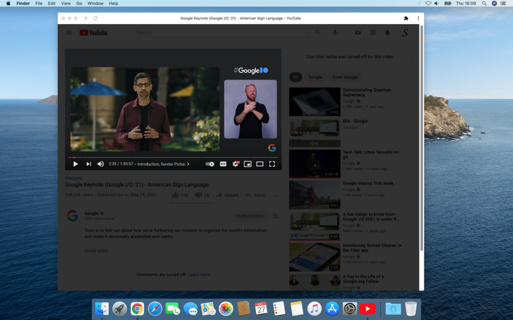 YouTube app window with the dark layer enabled of the Turn Off the Lights browser extension