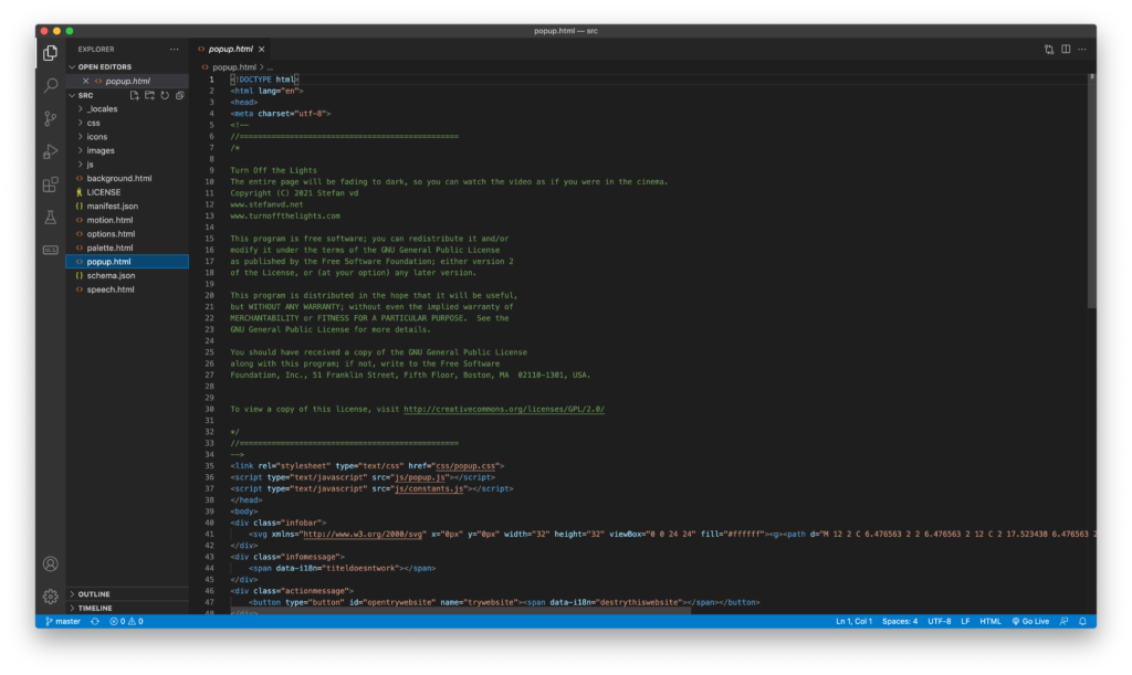 Visual Studio Code one of the Developer tools to use to build the Turn Off the Lights browser extension