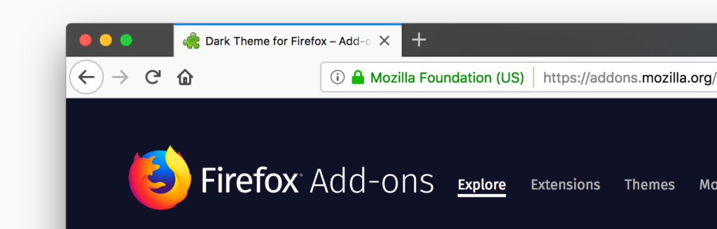 Firefox dark theme for Firefox web browser