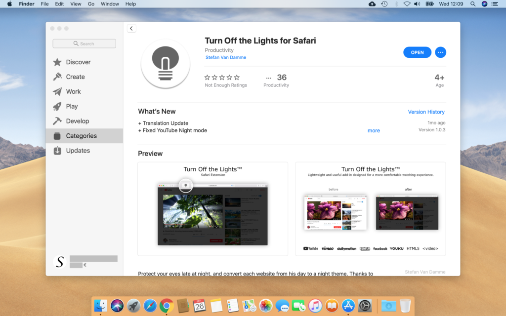 Turn Off the Lights for Safari App macOS Mojave