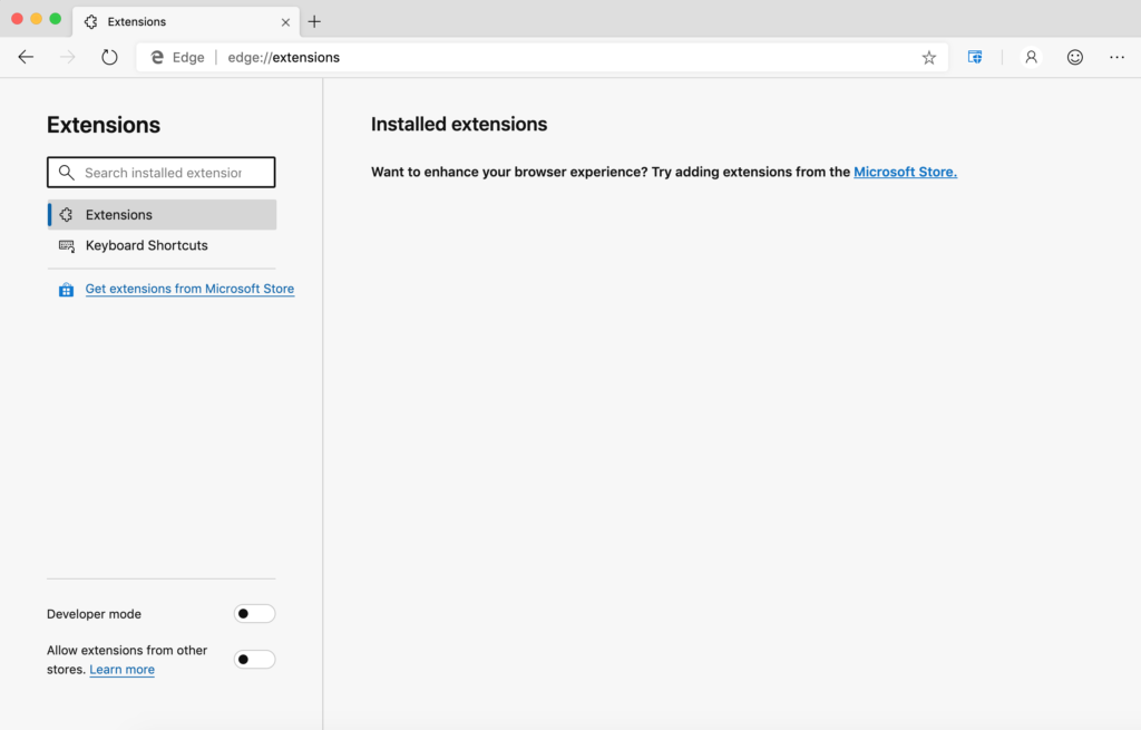 Microsoft Edge disable allow extensions from other stores - Step 2