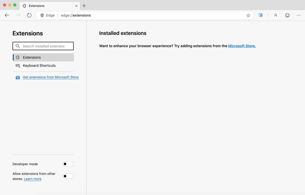 Microsoft Edge отключить разрешить расширения из других магазинов - Шаг 2