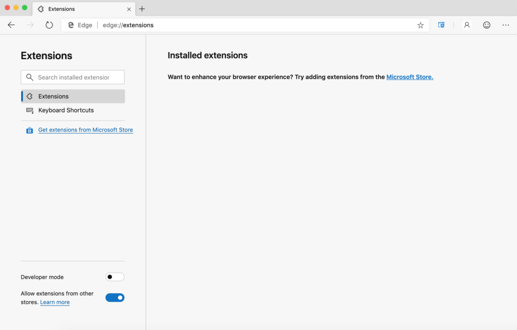 Microsoft Edge extensions page - Step 4