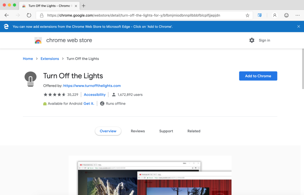 Chrome web store with Turn Off the Lights - Step 5