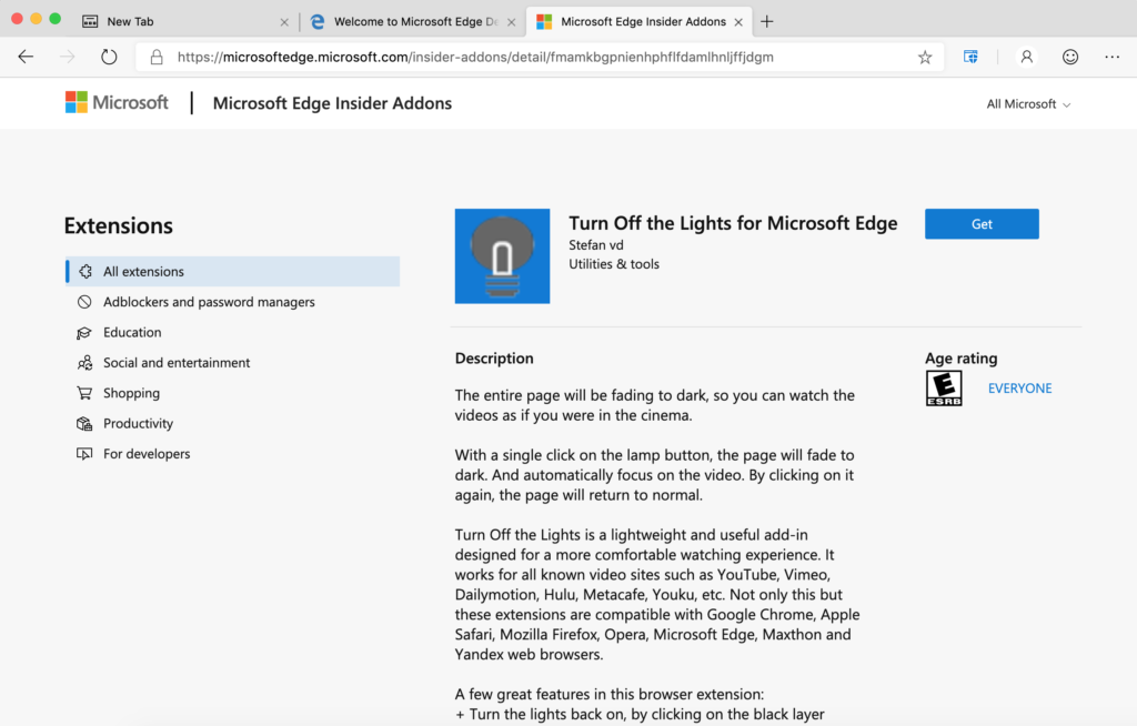 Выключите свет на Microsoft Edge Инсайдерская Аддоны
