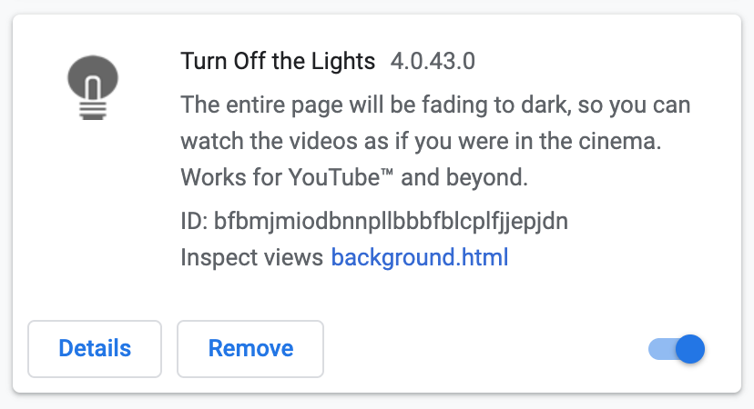 Remove Chrome extension such as Turn Off the Lights