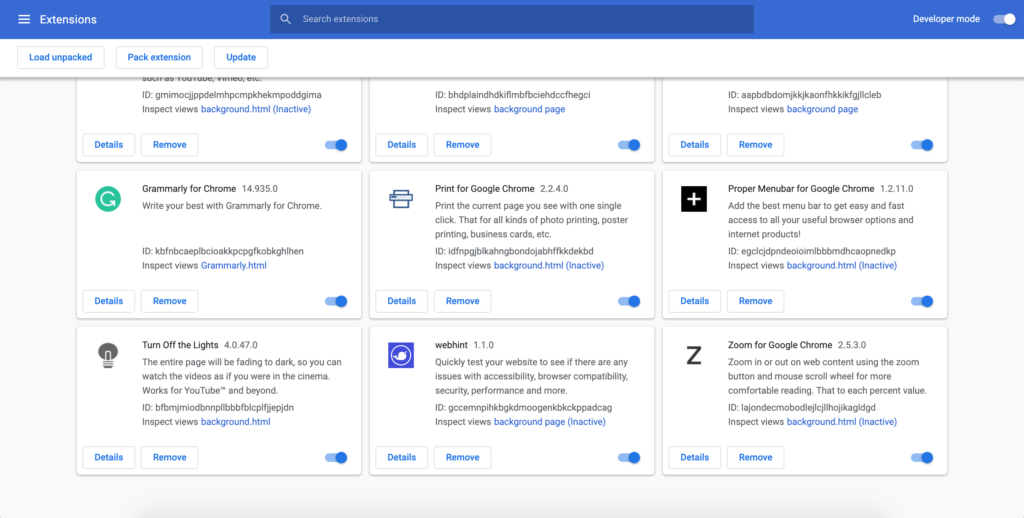 Chrome extension overview page