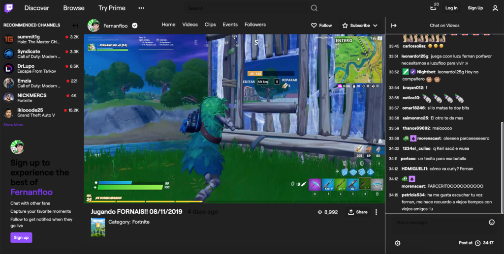 Dark Mode on twitch website with Turn Off the Lights Browser extension