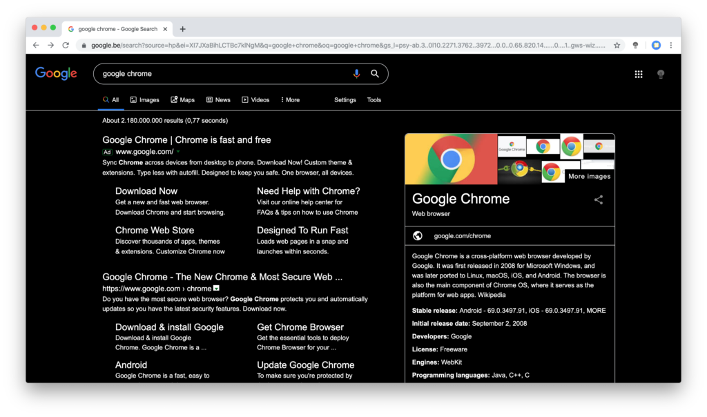 Night mode on for Chrome web browser