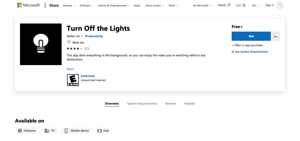 Turn Off the Lights Windows Store app