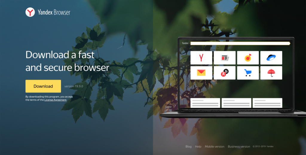 Yandex browser is the new fast and secure browser using the Chromium engine