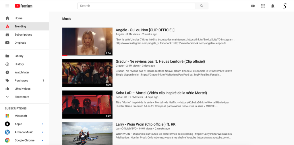 YouTube Trending page, where the YouTube Help page is avialable in the square 6 dots icon