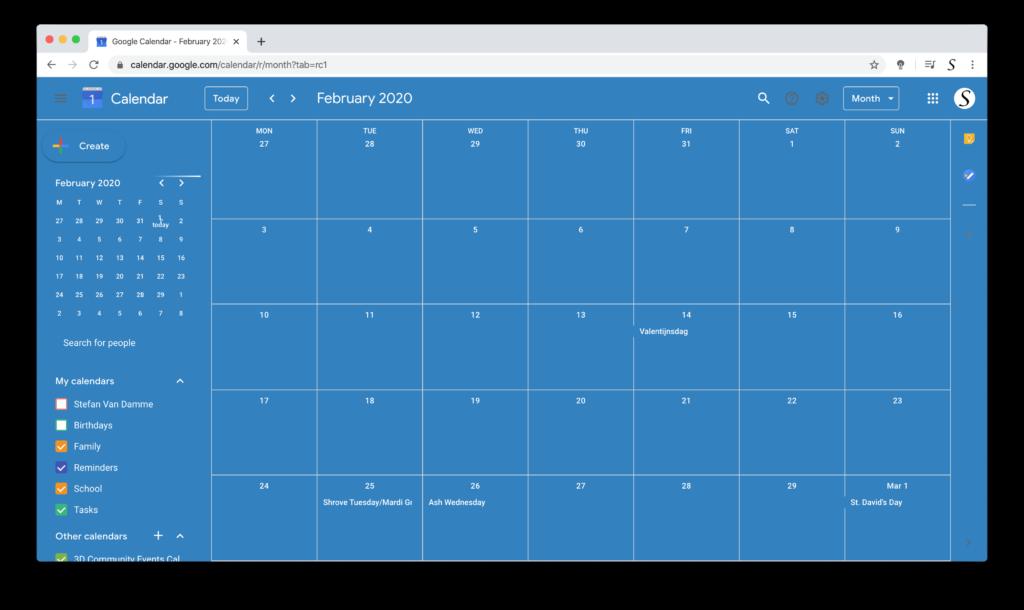 Измените мою тему календаря Google с бесплатным расширением браузера Turn Off the Lights