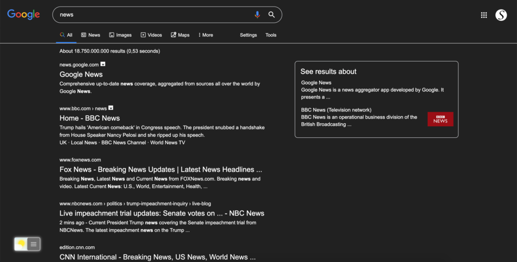 Google Eye extension with the Night Mode feature enabled