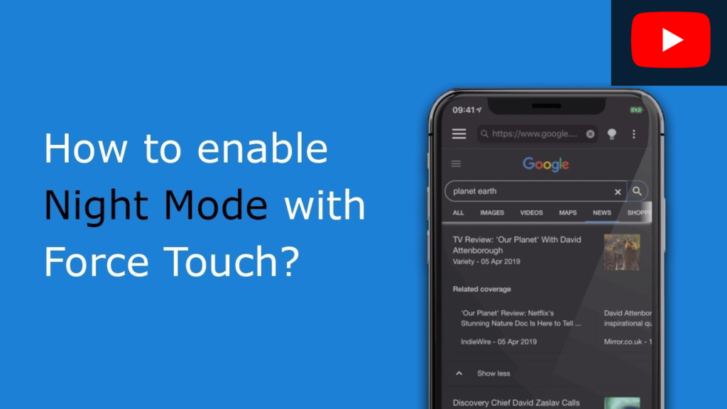 How to enable Night Mode with Force Touch