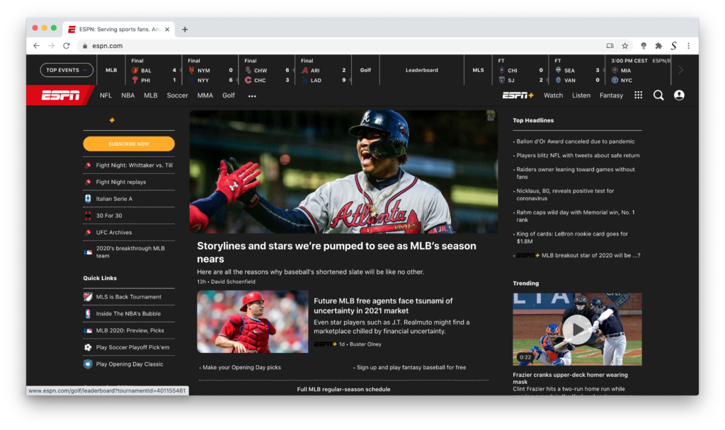 ESPN Dark Mode thanks to the free Turn Off the Lights browser extension