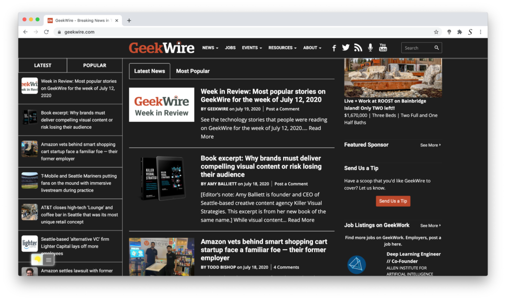 GeekWire dark mode with the free Turn Off the Lights browser extension