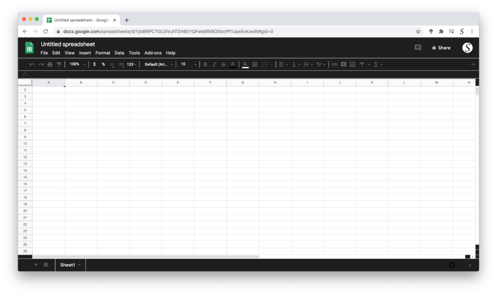 Google Sheets Dark Mode with the free Turn Off the Lights browser extension