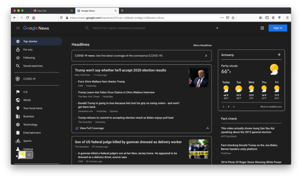 The best and comfortable night eye experience for Firefox