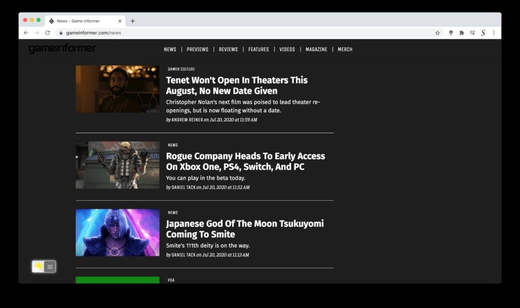 Gamer informer Dark Mode website