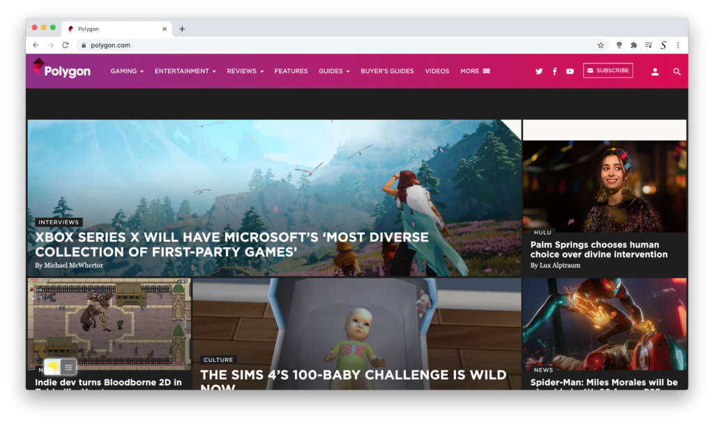 Polygon Dark Mode with Turn Off the Lights browser extension.
