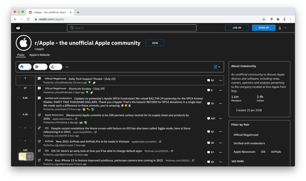 Reddit Dark Mode with Turn Off the Lights browser extension
