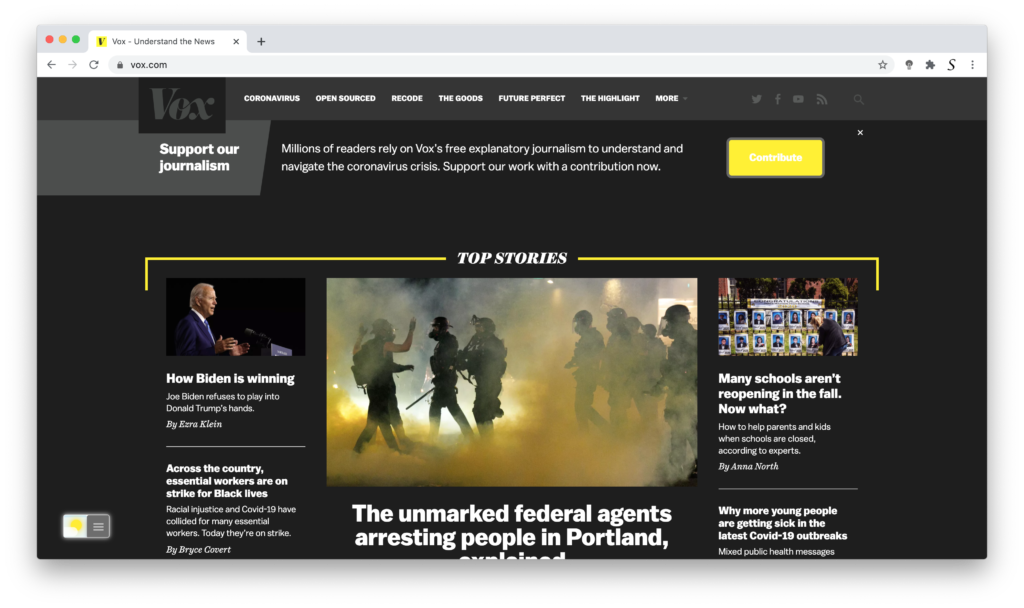VOX Dark Mode with the free Turn Off the Lights browser extension