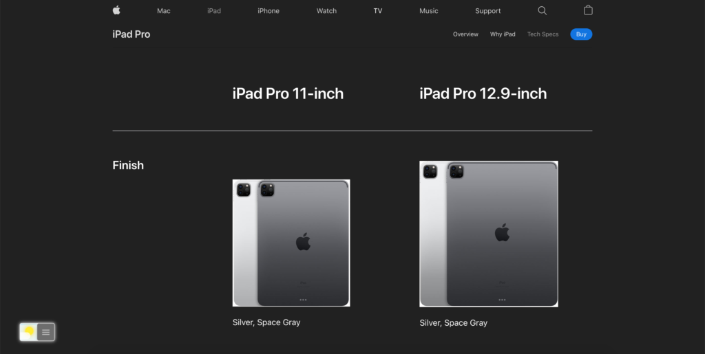 Apple iPad Pro technical specifications web page in Night Mode
