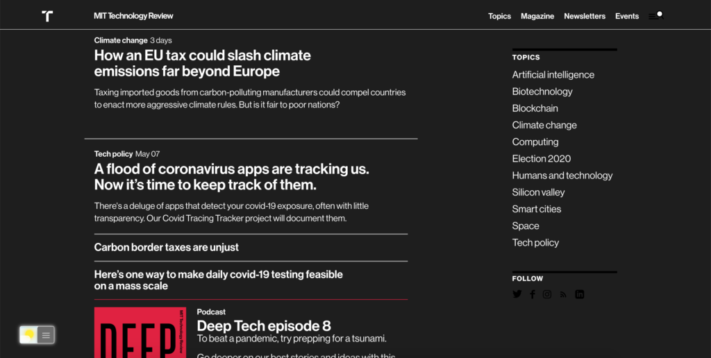 MIT Technology Review Dark Mode with the Turn Off the Lights browser extension using the Night Mode feature