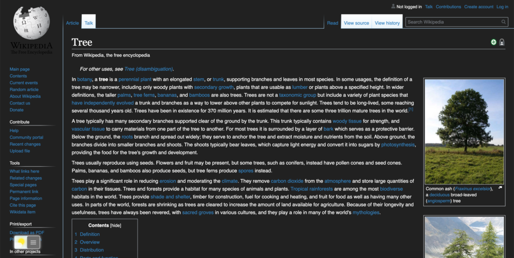 Wikipedia Night Mode enabled with the free Turn Off the Lights browser extension