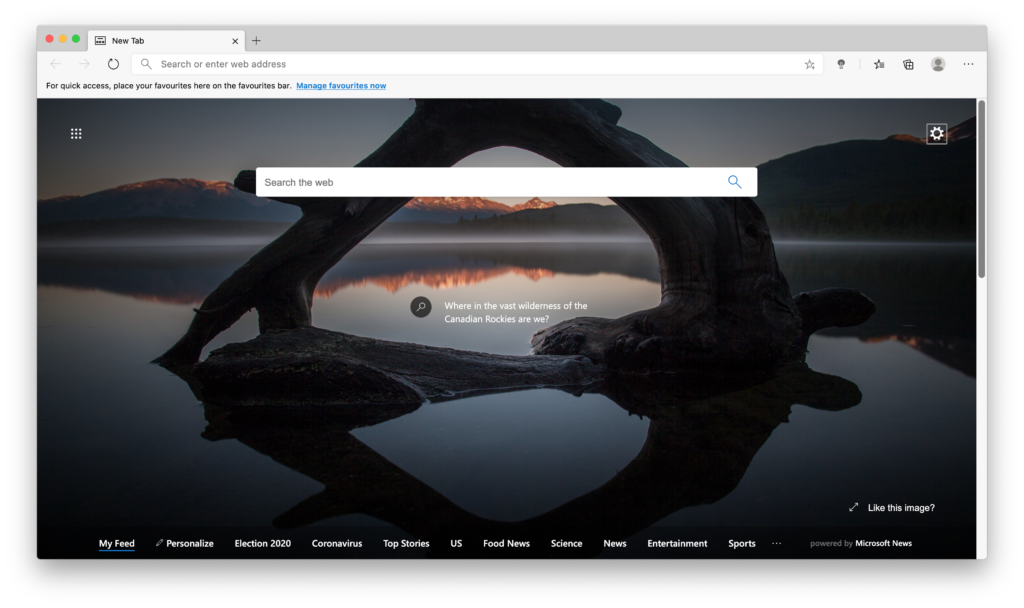 Microsoft Edge web browser (Chromium on Mac) with the Turn Off the Lights Edge extension installed