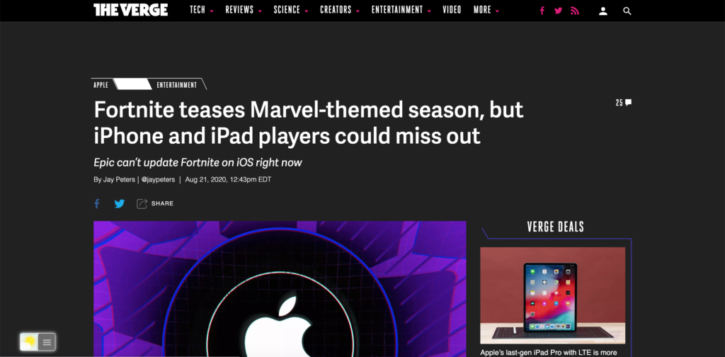 The Verge in Dark Mode with the free Turn Off the Lights browser extension