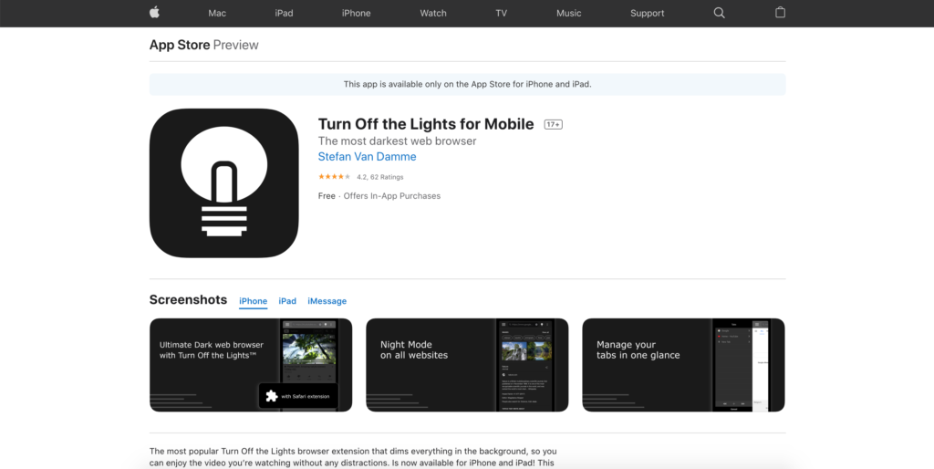 Screen dimmer for iPhone and iPad