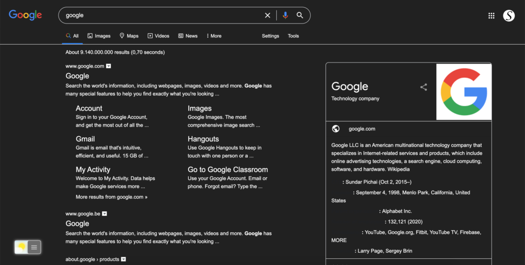 Google Search Dark Mode (no inverted images) with Turn Off the Lights browser extension