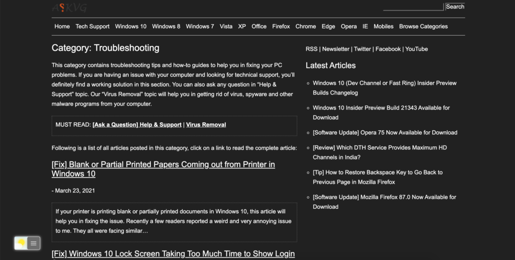 AskVG Dark Mode website thanks to the Turn Off the Lights browser extension